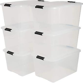 Iris 6er-Set stapelbare Aufbewahrungsboxen Top Box, mit Deckel und Klickverschluss, 45 Liter,