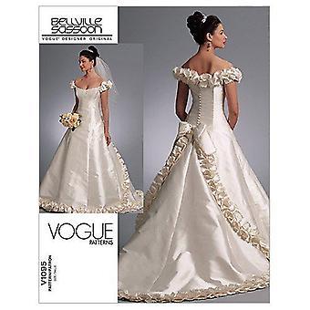 Vogue Ompelu kuviot 1095 Misses Hääpuku Mekko, Koko D (12-14-16)