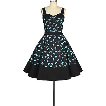 elegant stjerne stropp retro kjole i svart / sommerfugl