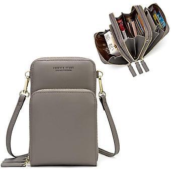Gerui Crossbody Bag, Women PU Leather Card Wallet Purse Handbags Shoulder Bag Sport 3 Zipper Waterproof
