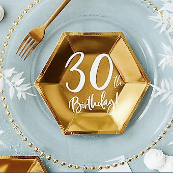 Gold 30th Birthday Party Paper Plates Partyware Tableware 20cm x 6