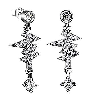 Lobe earrings for Valentine's Day, sterling 925 silver in the shape of a Celtic/lightning trischele with double star, Ref crown. 8414858867845