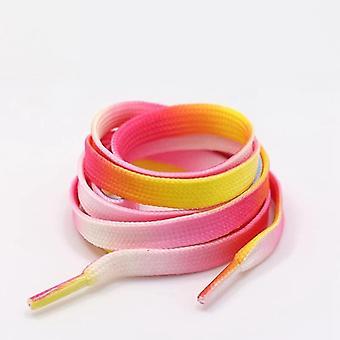 1pair Rainbow Gradient Flat Shoelaces For Canvas
