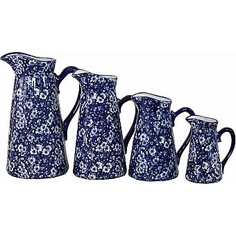 Set Of 4 Ceramic Jugs, Vintage Blue And White Daisies Design
