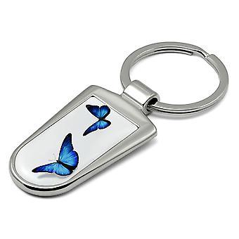 Porte-clés papillon d'impression - Deux KRG-50.30 bleus