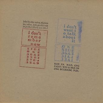 John Bender - I Don't Remember Now / I Don't Want to Talk About [Vinyl] USA import