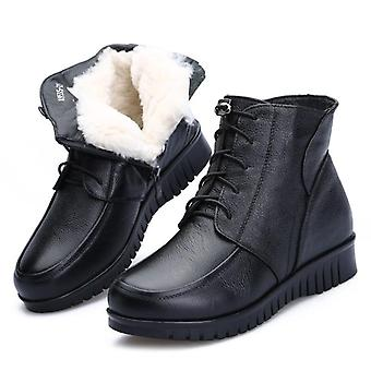 Women Winter Snow Boots. Leather Wool Fur Ankle Boots