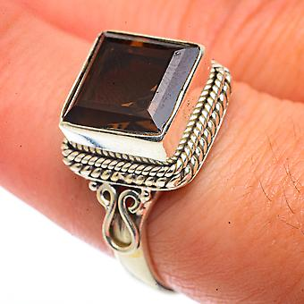 Smoky Quartz Ring Size 8 (925 Sterling Silver)  - Handmade Boho Vintage Jewelry RING66565