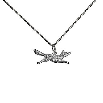 Silver 8x23mm running Fox Pendant with a curb Chain 24 inches