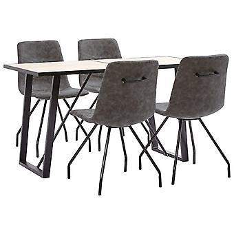 vidaXL 5 pcs. Dining group dark brown faux leather