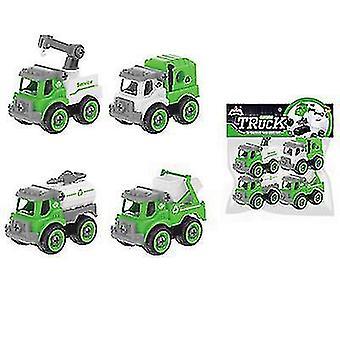 Demontage auto speelgoed 4 stuks sanitaire auto engineering puzzel set DIY schroef schroef verwijderbare assemblage