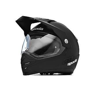 Spada intrepid full ansikt motorsykkel hjelm matt svart med sol visir