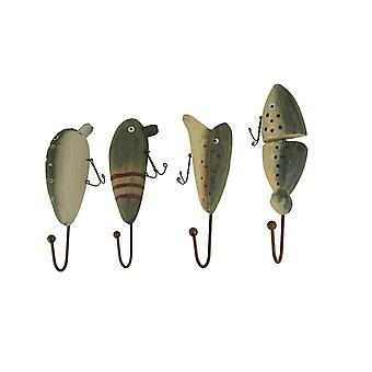 Rustic Wooden Vintage Fishing Lure Wall Hooks Set of 4