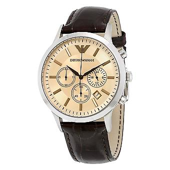 Emporio Armani AR2433 Brown Leather Champagne Dial Chronograph Men's Watch