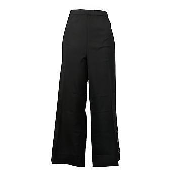 Isaac Mizrahi En direct! Pantalon femme Culotte Button Hem Noir A375762