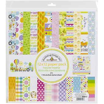"Doodlebug Double-Sided Paper Pack 12""X12"" 12/Pkg - Hippity Hoppity"