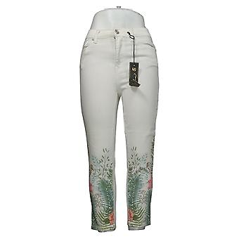 DG2 By Diane Gilman Jeans donna Orlo Con Stampa Tropicale Skinny Bianco 743599