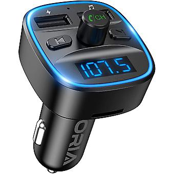 ORIA Bluetooth FM Transmitter for Car, [2021 Upgraded] Wireless in-Car Radio Adapter Car Kit,