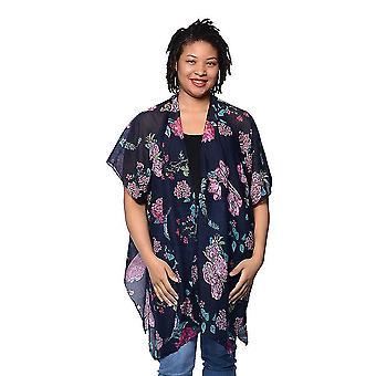 Schwarz Floral gedruckt Kimono Größe 85x95cm