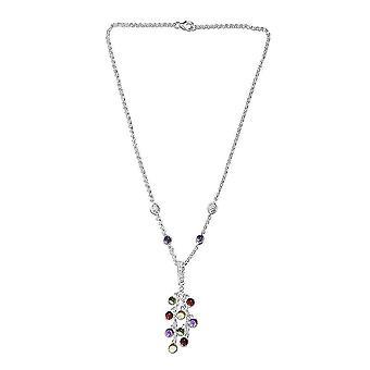 TJC Multi Edelstein Anhänger Halskette für Frauen Sterling Silber 8,85ct
