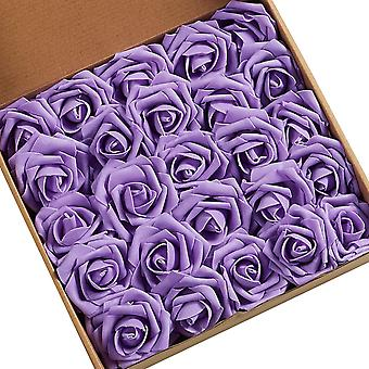 50 rose in scatola, scatola regalo di rose artificiali, regalo per la festa della mamma di nozze, viola