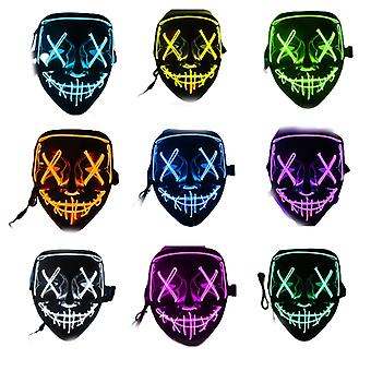Qian Stitches Scary Led Mask Halloween Cosplay Kostium Maska Light Up Festival Party