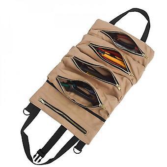 Outdoor Camping Tool Roll Up Tasche mit 5 Reißverschlusstaschen Mehrzweckschlüssel Roll Pouch Canvas Tools
