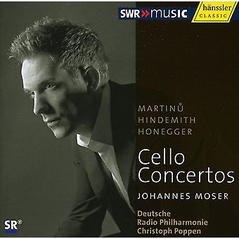 Martinu/Hindemith/Honegger - Martinu, Hindemith, Honegger: Cello Concertos [CD] USA import