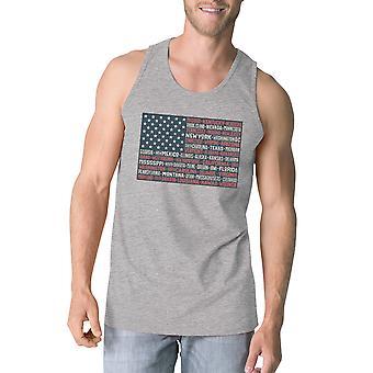 50 دولة لنا العلم غراي رجالي دبابة 4th مضحك أعلى من خزان القطن في تموز/يوليه
