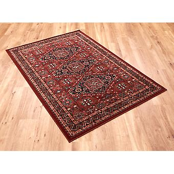 Kashqai 4308_300 Red and russet ground with diamond formation in the centre and a zig zag border. Rectangle Rugs Traditional Rugs