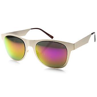 Retro Metal Flat Horned Rim Mirror Lenses Sunglasses