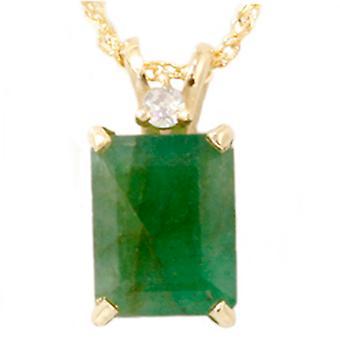 Keltainen kulta 1ct Emerald & Diamond Solitaire riipus