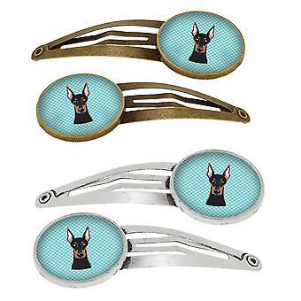 Damier bleu Doberman Set de 4 Barrettes cheveux Clips