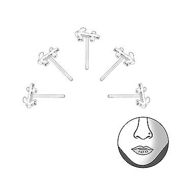 Set Of 5 Silver Anchor Nose Studs - 925 Sterling Silver Nose Studs - W34521X