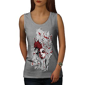 Femme Art Girl Fashion femmes GreyTank Top | Wellcoda