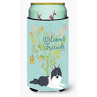 Welcome Friends Black White Collie Tall Boy Beverage Insulator Hugger