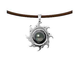 Male Tribal Sun pendant necklace in Leather, Pearl of Tahiti and Silver Massif 925 5492