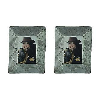 Set of 2 Galvanized Zinc Finish Metal Photo Frames For 4 X 6 Photos