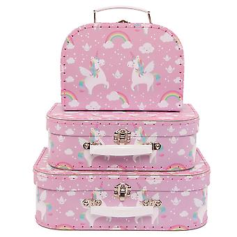 Sass & Belle Set Of 3 Rainbow Unicorn Suitcases