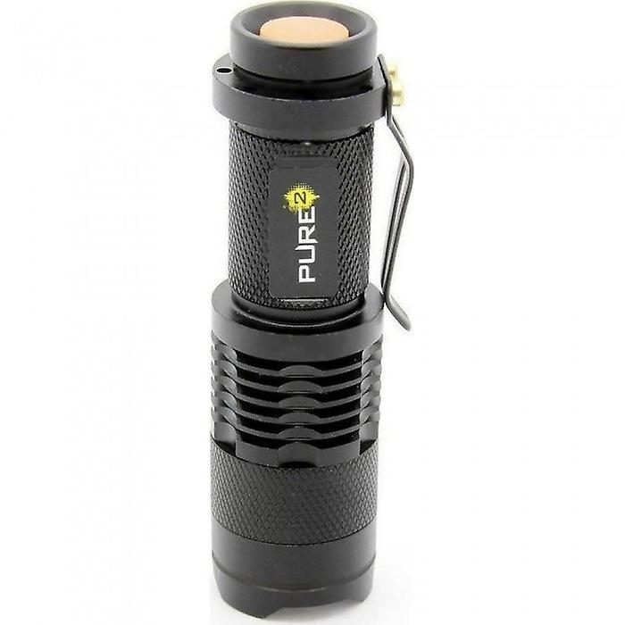 Pure square mini LED flashlight 300lm Q5 Cree 7W 3 modes with Focusadjust black