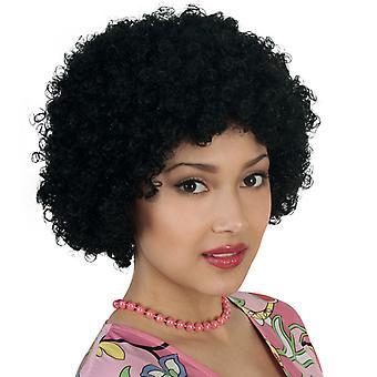 Hiukset peruukki Afro kiharat musta