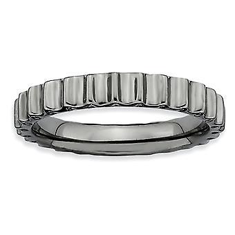 925 שטרלינג כסף מלוטש בדוגמת רותניום ביטויים הערמה שחור מצופה טבעת תכשיטים מתנות לנשים