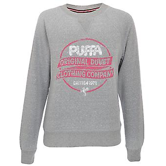 Puffa Womens Logo Casual Long Sleeve Ribbed Crew Neck Sweatshirt Pullover Top