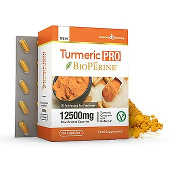 Turmeric Pro with BioPerine 12,500mg 95% Curcuminoids - 60 Capsules - Fat Burner - Evolution Slimming