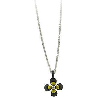 Ti2 Titanium svart tilbake fire Petal blomst anheng - sitron gul