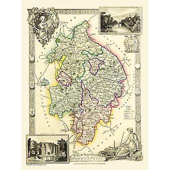 Karte von Warwickshire 1836 von Thomas Moule 1000 Stück Jigsaw Puzzle (jg)