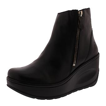 Womens Fly London Jome Leather Black Wedge Heel Work Fashion Ankle Boots