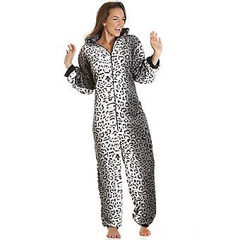 Camille Womens superzacht luxe Fleece grijs Snow Leopard kat all-in-een Onesie