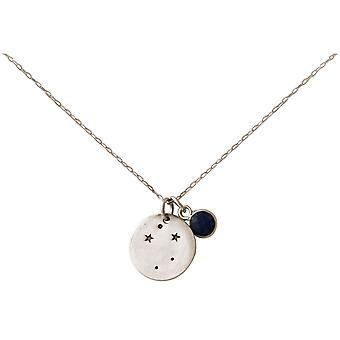 Constellation halsband horoskop safir Libra skala silver, guldpläterad, Rose