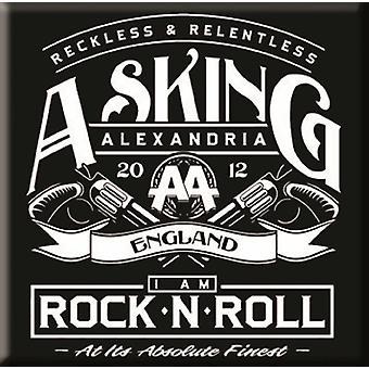 Imã de geladeira de Alexandria a pedir logo banda Rock n Roll nova oficial 76 x 76 mm